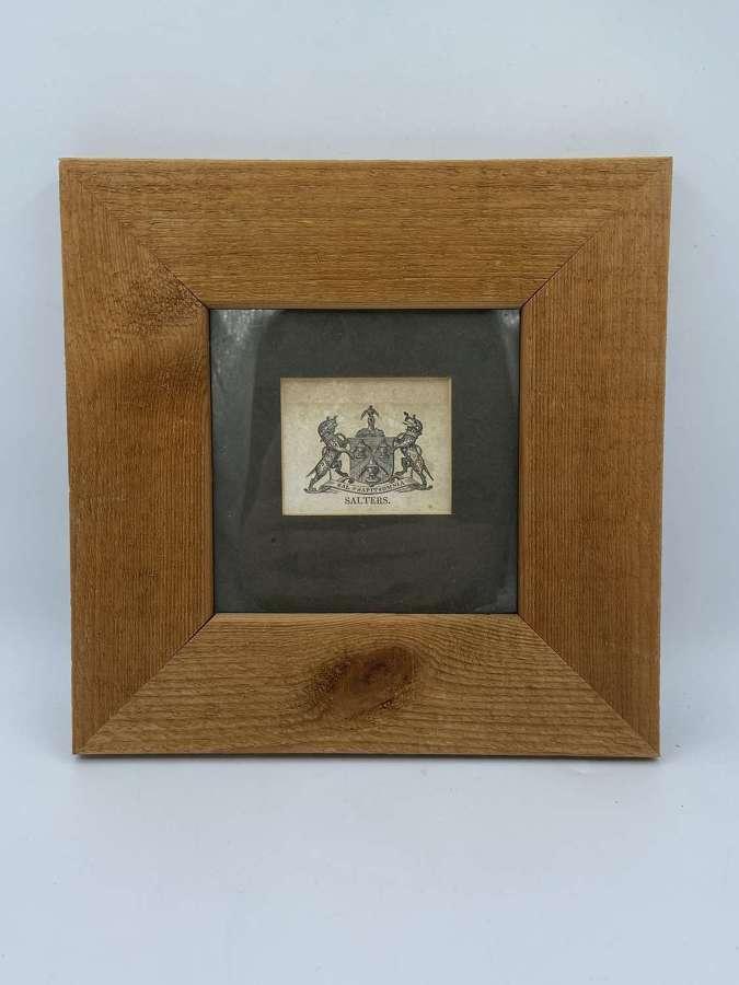 Antique Salters Crest Ephemera Framed In Natural Wood Frame