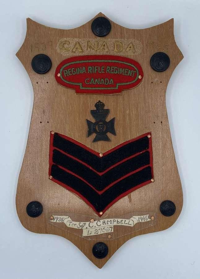 WW2 Era Commemorative Plaque Canadian Rifle Regiment Tec Sgt Campbell