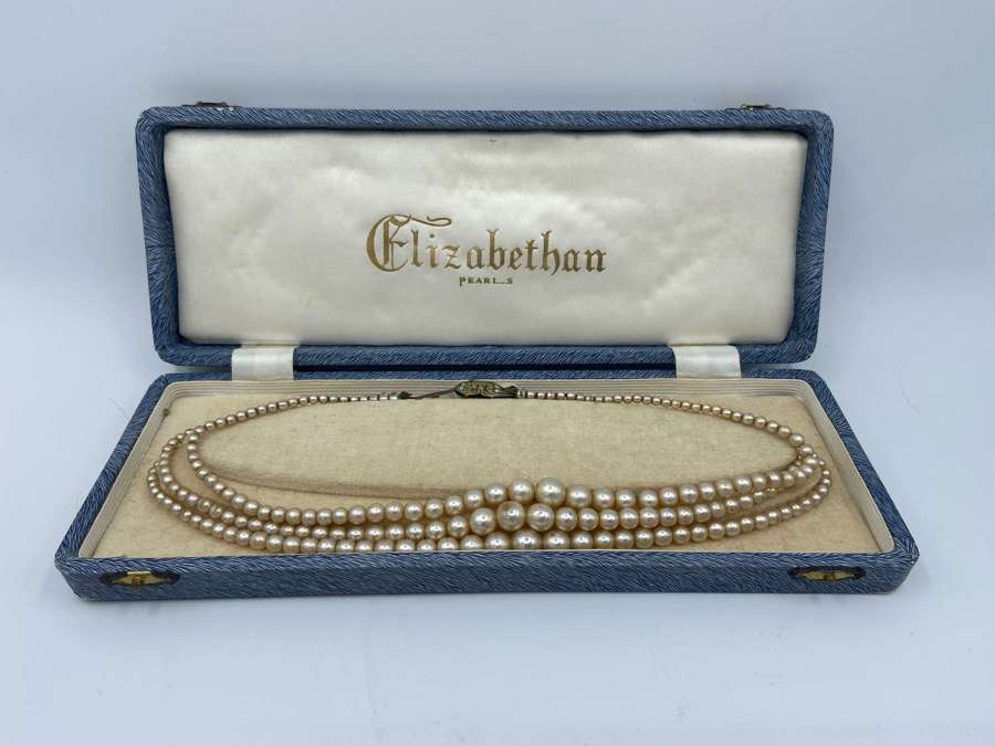 Vintage 1950s Elizabethan Brand Costumer Jewellery Faux Pearls Neck