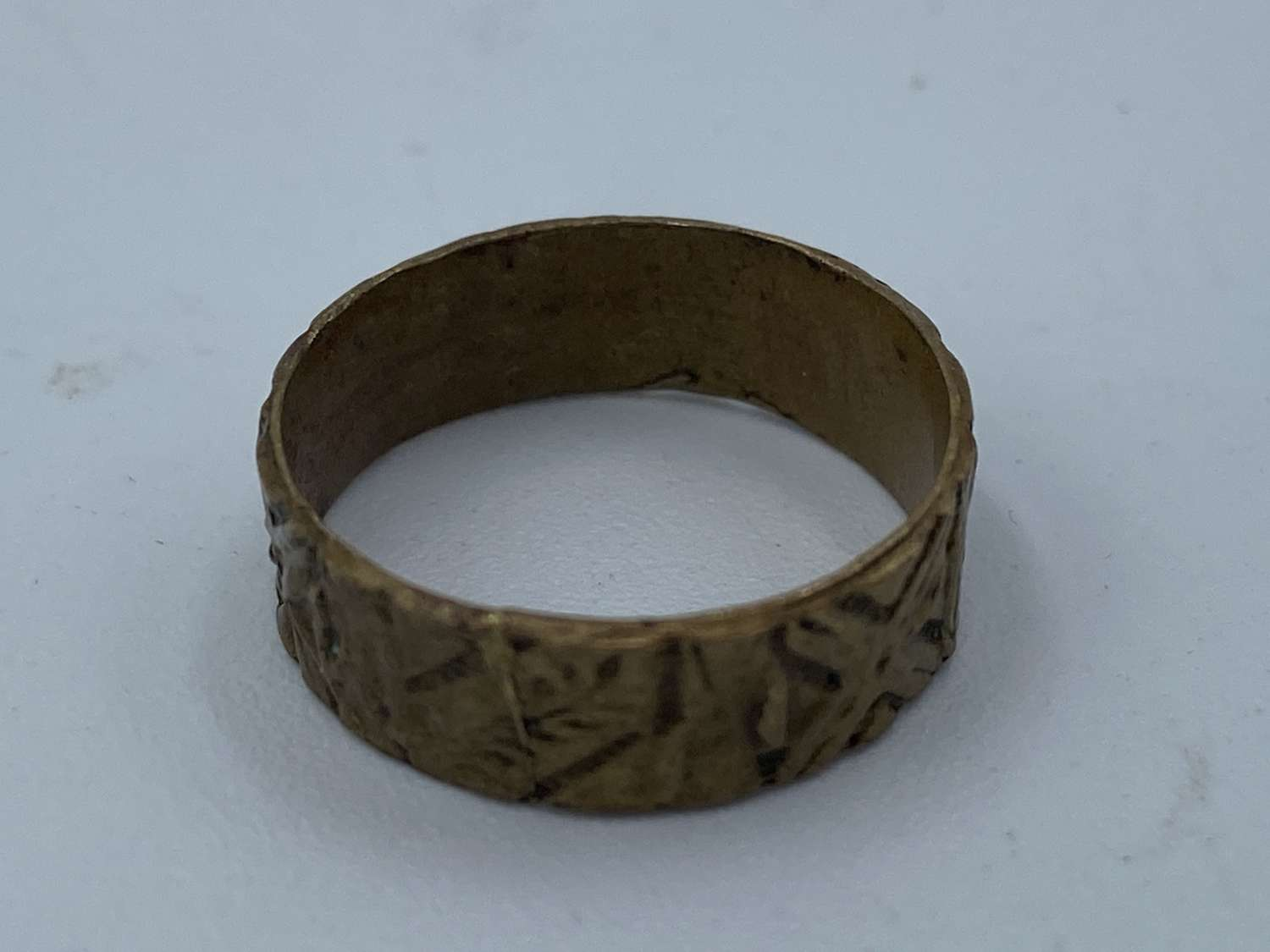 Crudely Made WW1 Copper/ Brass Carved Trench Art Ring Souvenir