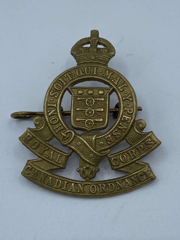 WW2 Royal Canadian Ordnance Corps Brass Cap Badge Kings Crown
