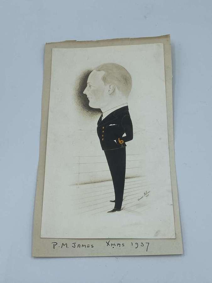 WW2 Amies Milner caricature full length profile portrait study 1937