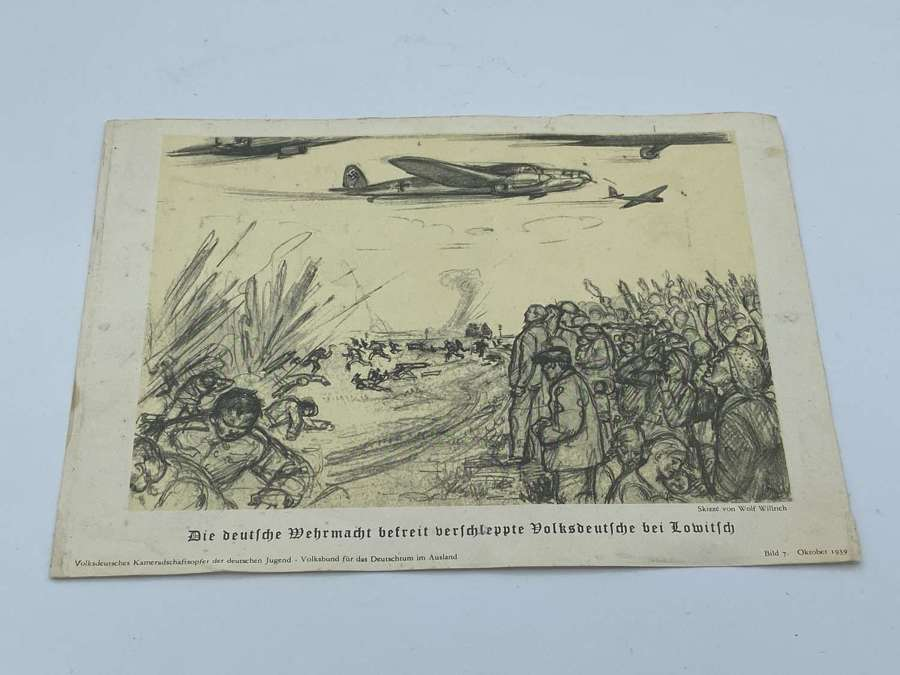 WW2 German 1939 Sketch Print By Wolf Willich Of Liberation Of Germans