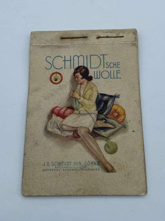 WW2 German Home Front Civilian Notebook SCHMIDTSCHE WOLLE