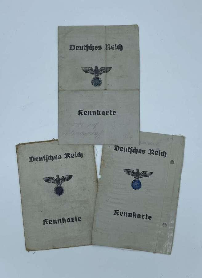 3 WW2 German Town Kennkarte Belonging To A Mother, Son & Daughter