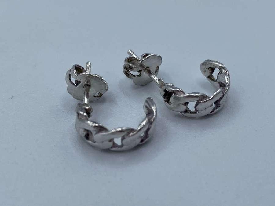Pair Of Antique Ladies Silver 925 Half Curve Ring Link Earrings 2.23g