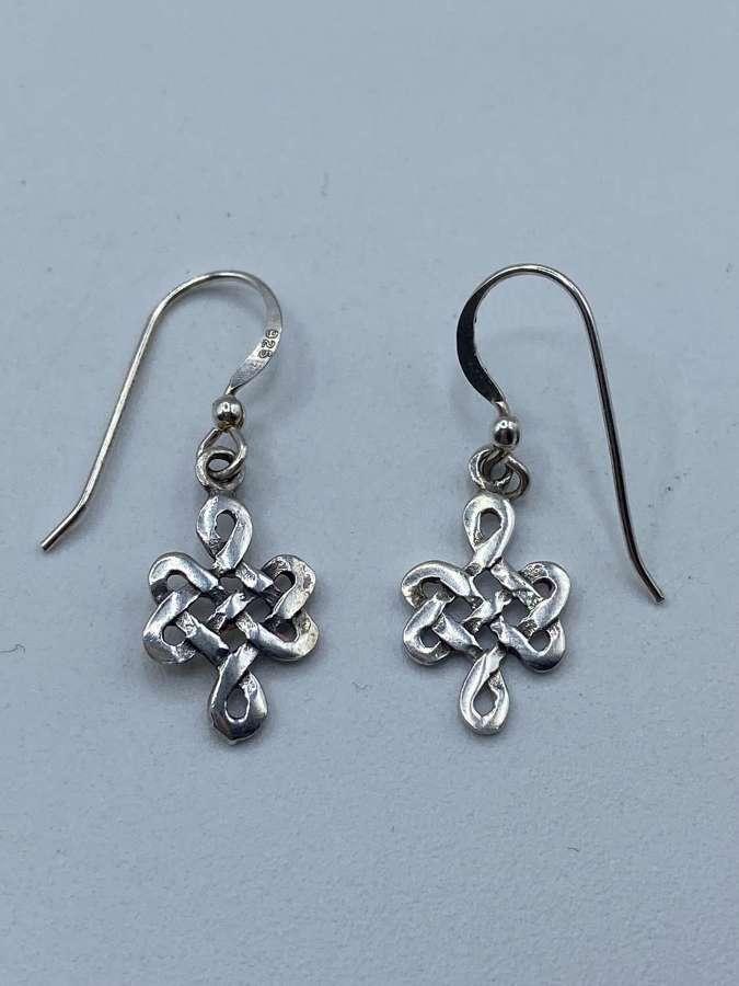 Pair Of Vintage KH93 Kit Heath Celtic  925 Marked Silver Earrings