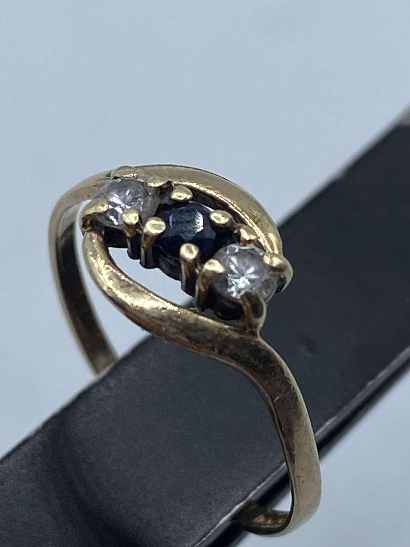 375 Birmingham 9ct Gold Cubic Zirconia & Oynx Ring M1/2