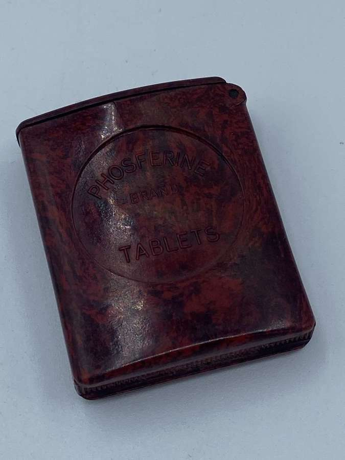 WW1 era Bakelite Vesta Case AdvertisementFor Phosferine Brand Tablets