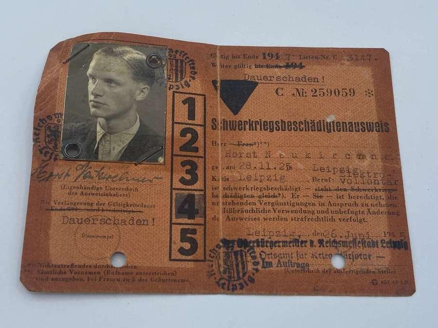 Early Post WW2 German Wehrmacht Badly Injured War Veteran Pass