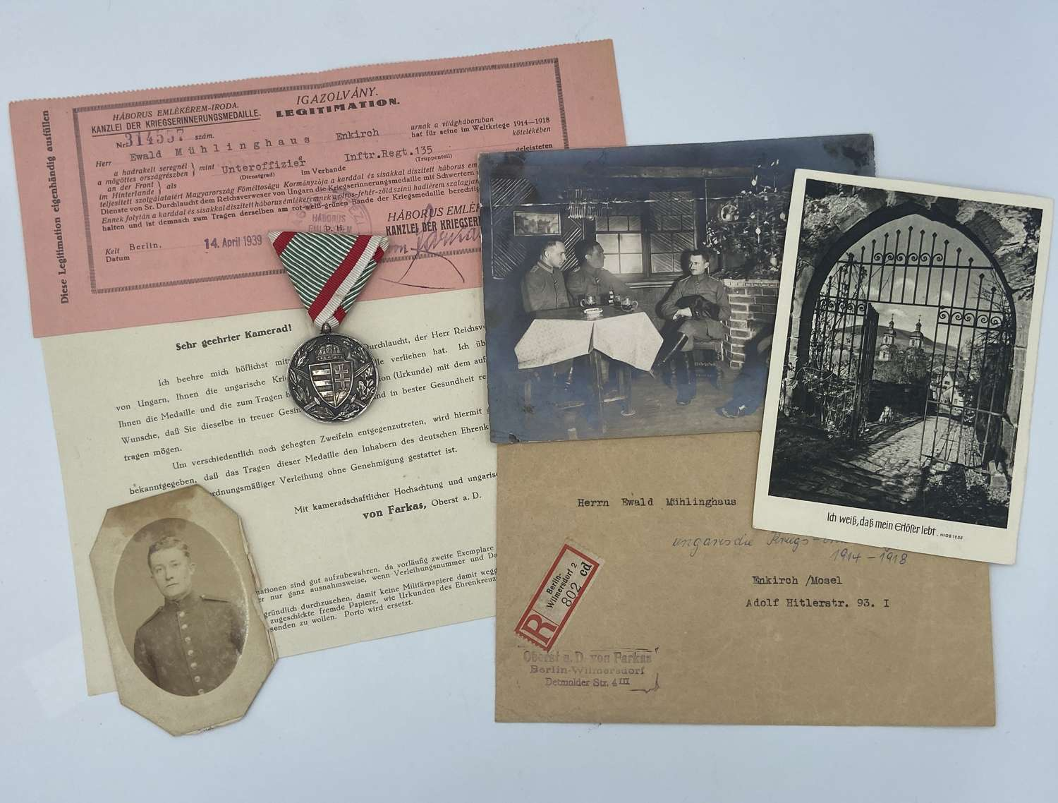WW1 Hungarian Commemorative Officers Medal & Paperwork