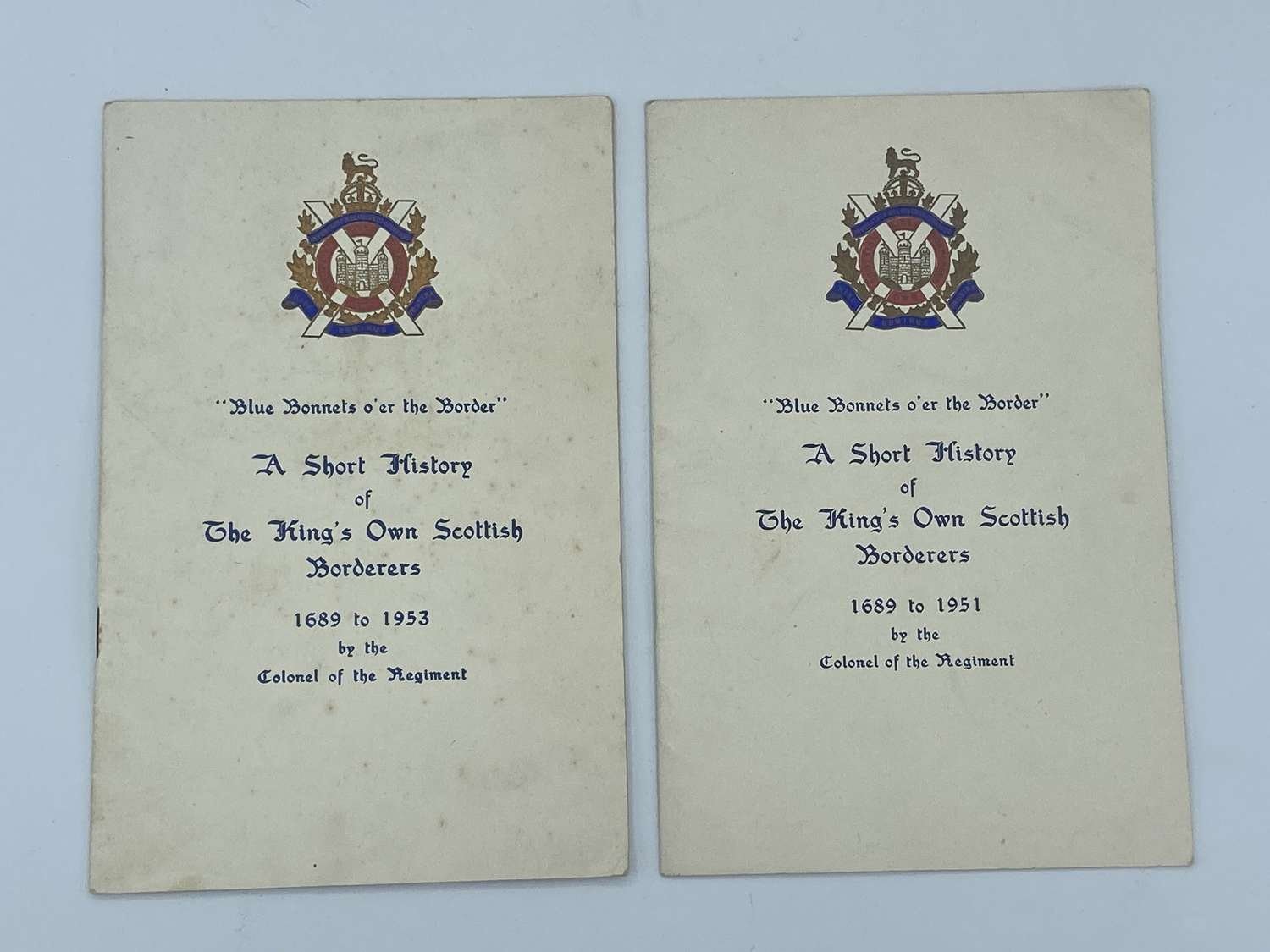 Pair of Official Post WW2 Kings Own Scottish Borderers 1689-51