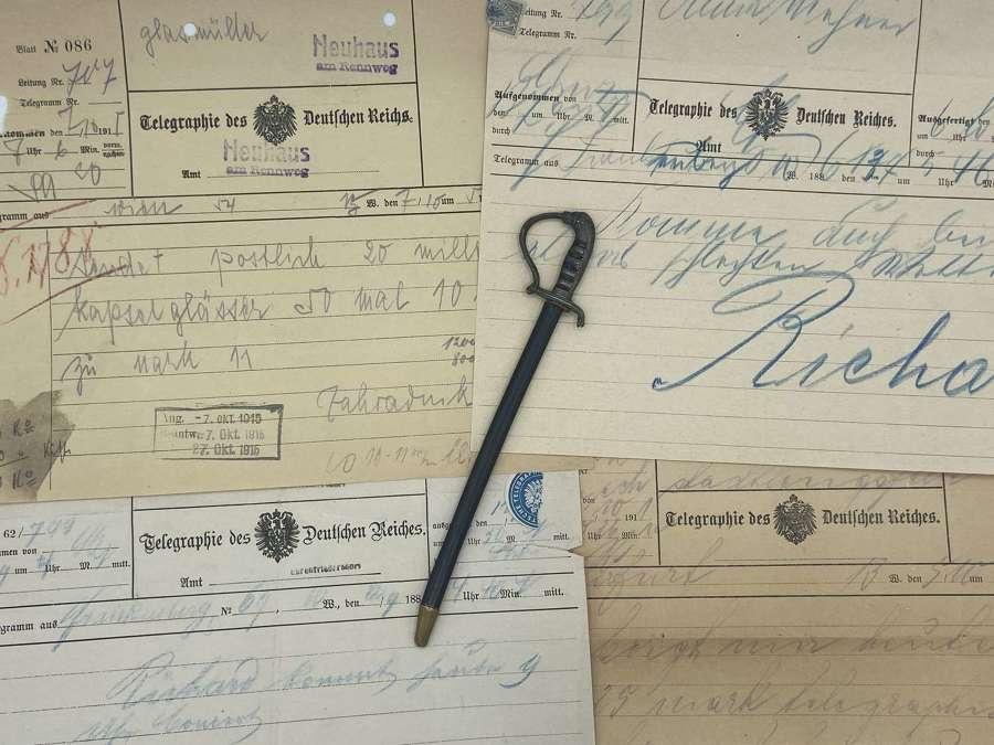WW1 German Imperial Army Officers Mini Sword Letter Opener & Telegrams
