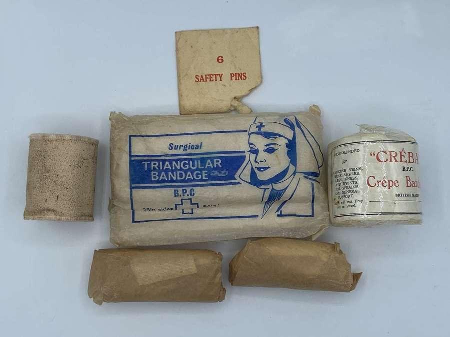 WW2 British Home Front Job Lot Of Bandages Triangular Bandages Etc