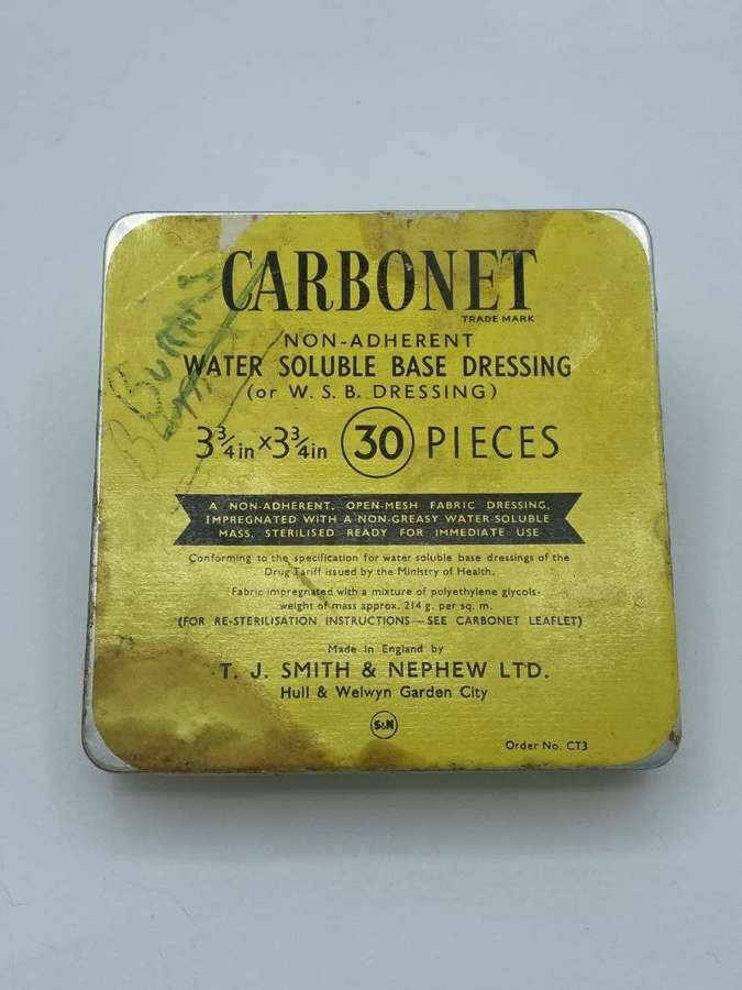 WW2 Unopened British Army CARBONET WATER BASE DRESSING smith & neph