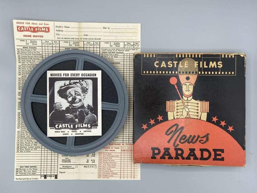 WW2 Castle Films News Parade US Propaganda Man:la Liberated & Iwo Jima