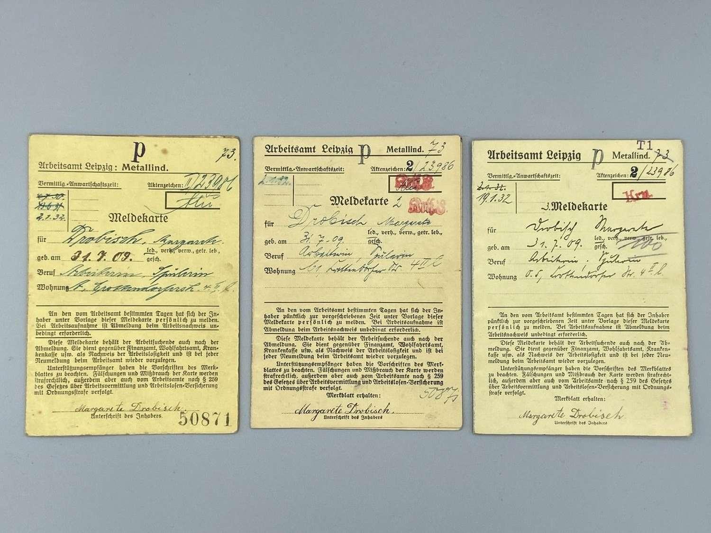 WW2 German Womens Workers Registration & Pay Cards. Work Metal Sorting