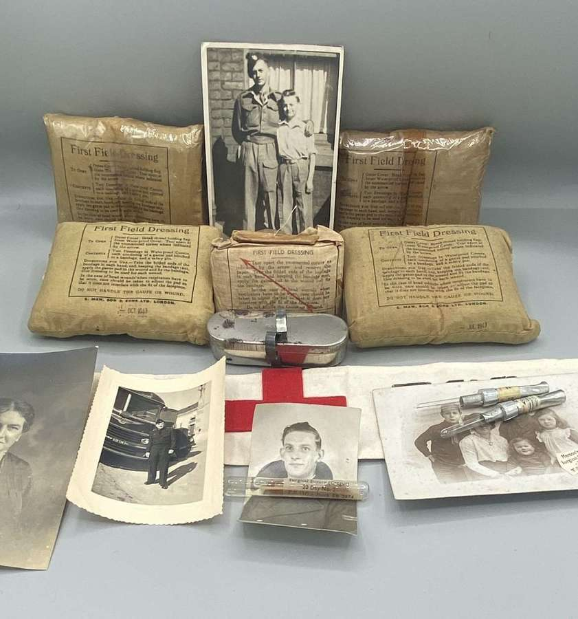 Rare WW2 British Army First Aid Medics Supplies UnOpened: Bandages Etc
