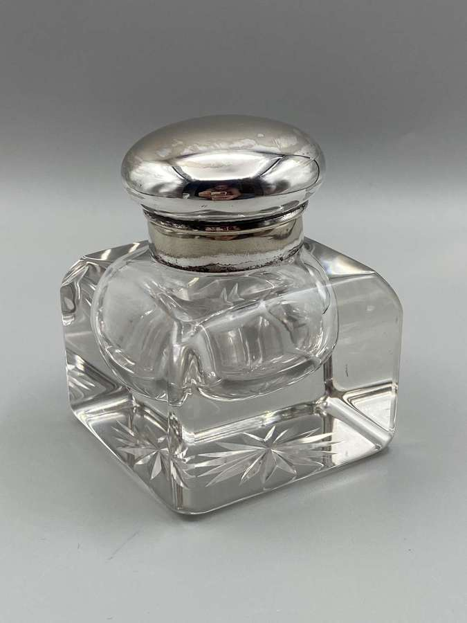 Large heavy Victorian Antique Silver Plated Cut Crystal Glass Inkwell