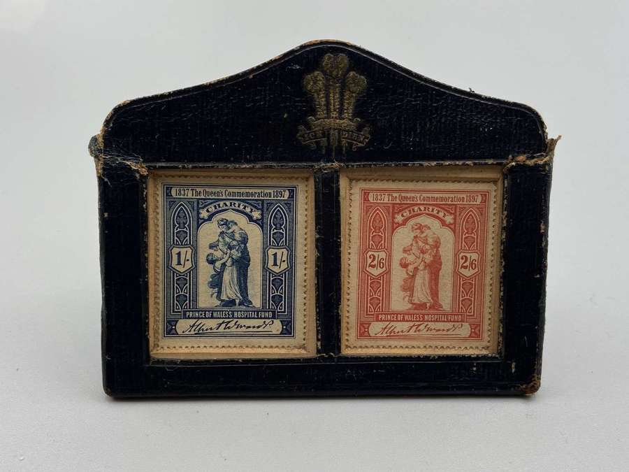 Antique Prince of Wales Hospital Fund 1897 Stamps&Leather Royal Frame