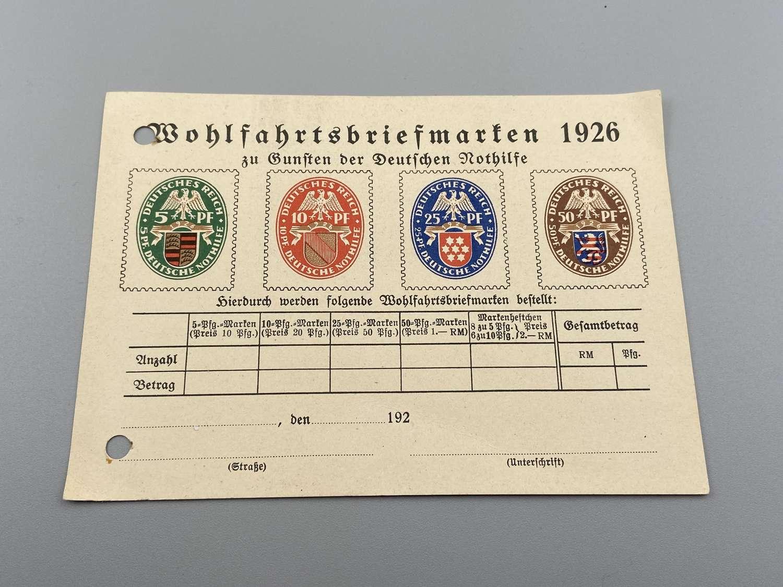 Pre WW2 German Emergency Aid Welfare Stamps Post Card Order 1926