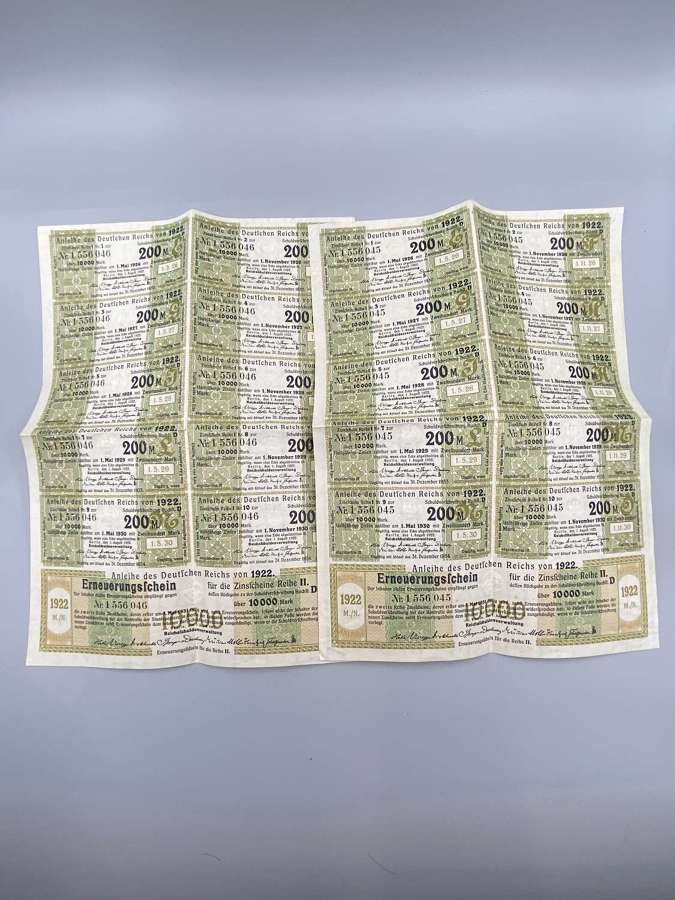 Germany Deutsche Reichs Loan Anleihe 1922 Sheet of Bond Coupons 20.000