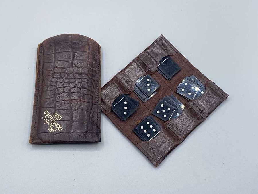 WW2 Era British Army Pocket Dominos Set In Crocodile Leather Wallet