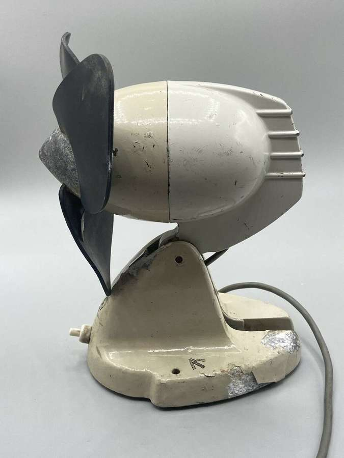 Post WW2 Heavy British Army Bunker Desk Fan Crow Foot Marked & Working