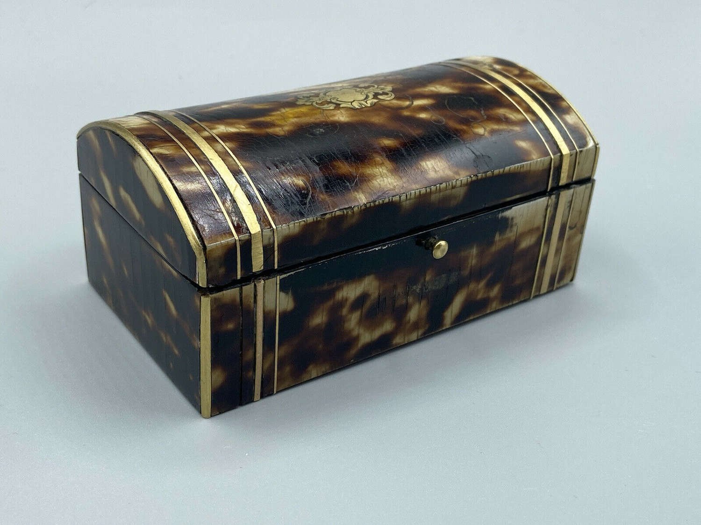 Antique Faux Tortoiseshell & Brass Jewellery Box Chest 7cm-12cm-5.5cm