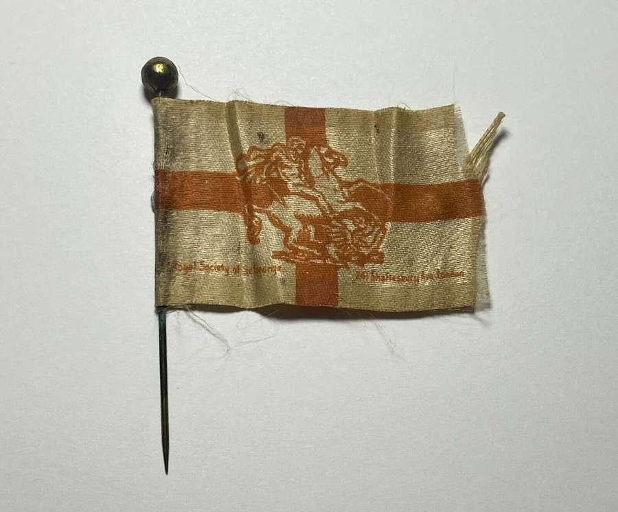 WW1 English Royal Society Of St,George London Fundraising SilkFlag Pin