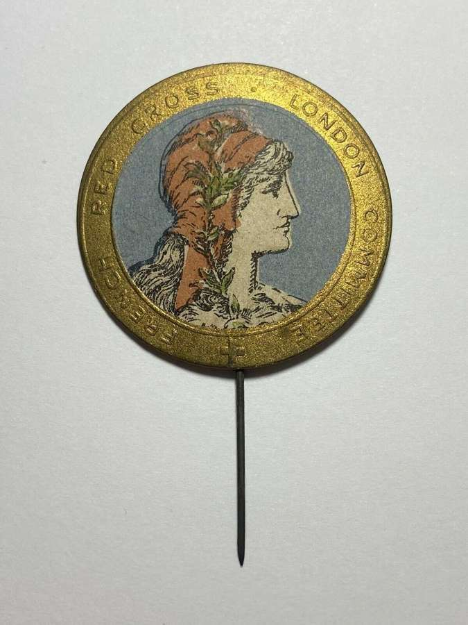 WW1 Paper Pin Badge Fundraising Pin French red cross London committee