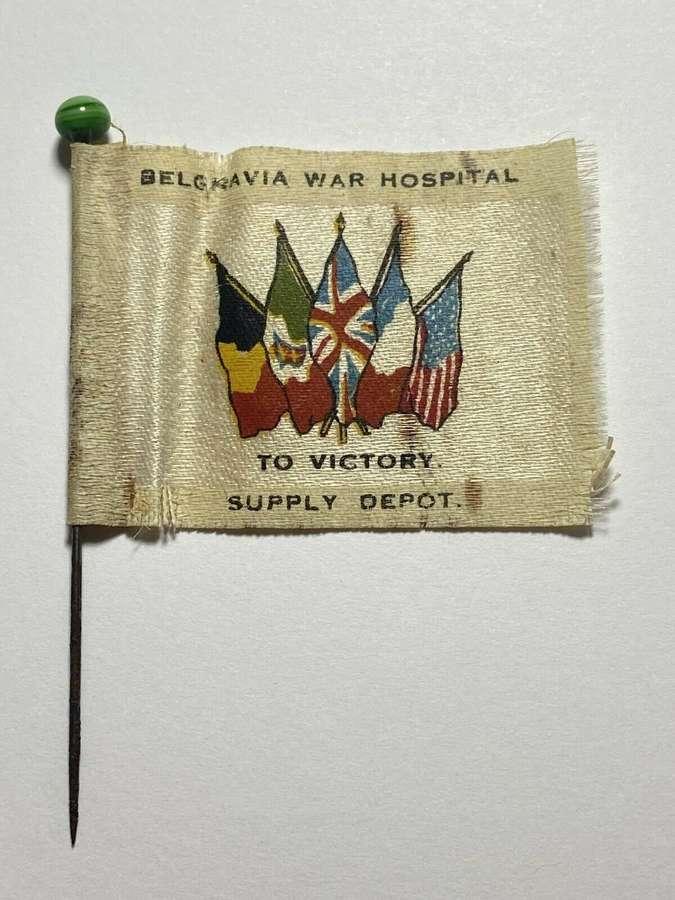 WW1 Belgravia War Hospital Victory Supply Depot Fundraising Silk Pin