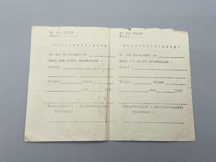 RareWW2 German 1935 Braunhemden-Sturmabteilung Service Permission slip