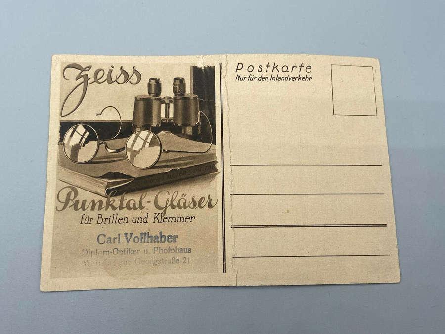 Rare WW1 WW2 German Carl Zeiss Binoculars & Glasses Advert Postcard