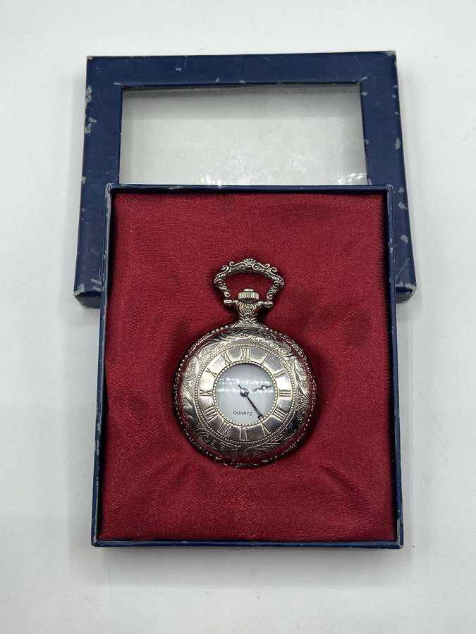 Vintage Boxed Quartz Battery Powered Working Pocket Watch