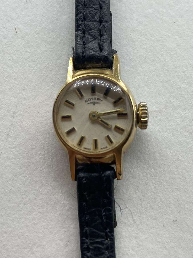 Vintage Womens 14mm Rotary Gold Hallmarked Swiss 17 Jewels Working