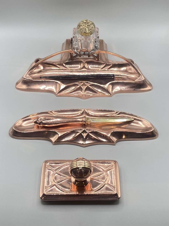 1903-10 Art Nouveau German WMF Jugendstil Albert Mayer Copper Dest Set