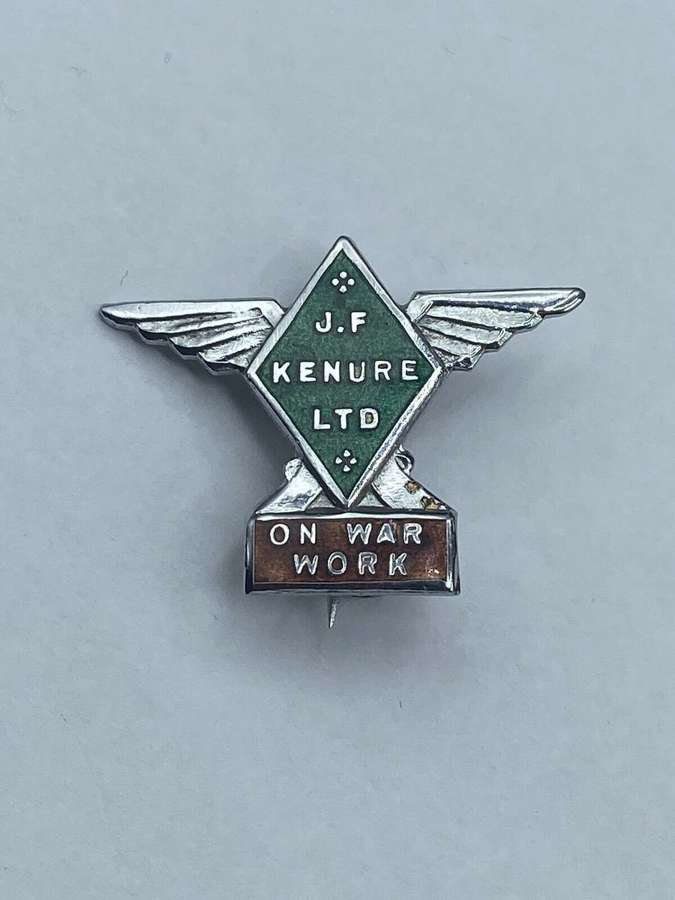WW2 On War Work Badge For Kenure Ltd Aircraft Workers & Manufactures
