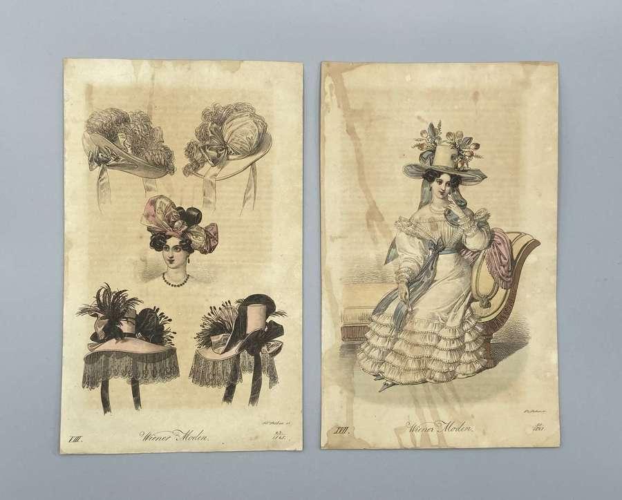Antique Austrian 1828 Dated Prints Vienna Art Journal Women Fashion