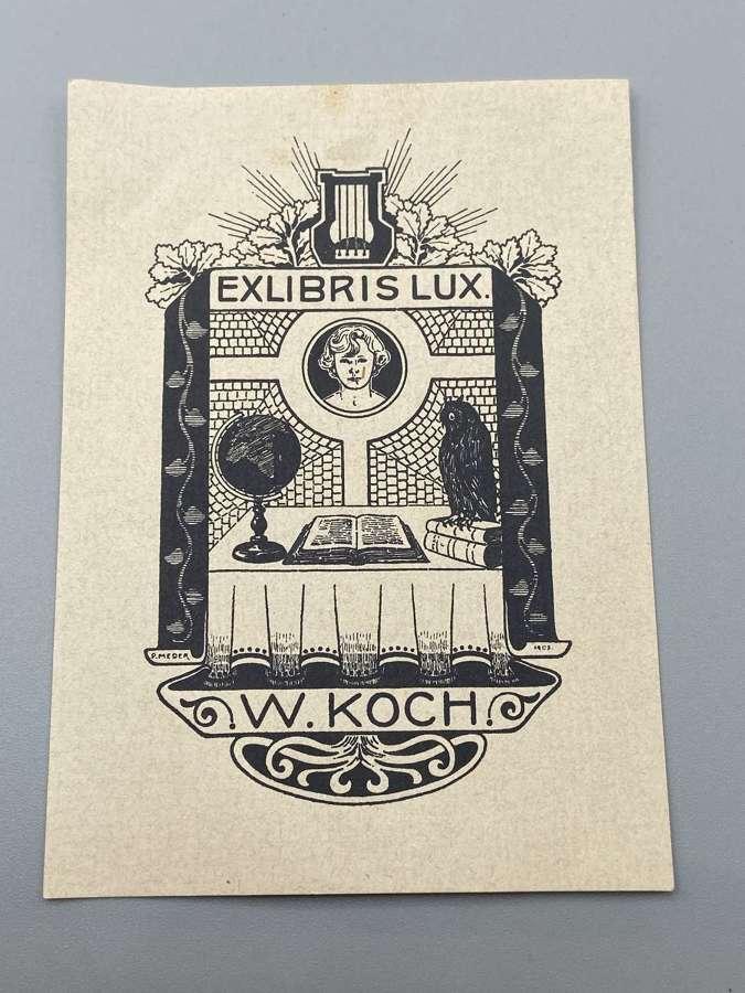 Antique Exlibris Lux Book Plate Sticker W Koch Signed 1906 Hagen Paul