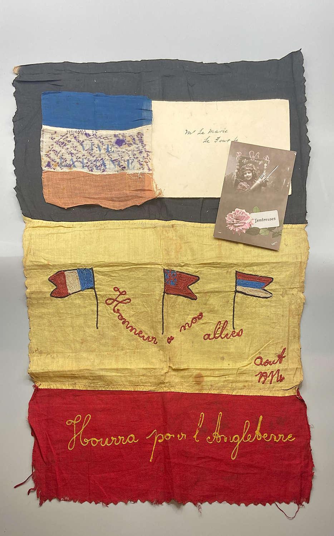WW1 British Souvenir: French Resistance Vive La France & Belgium Flags