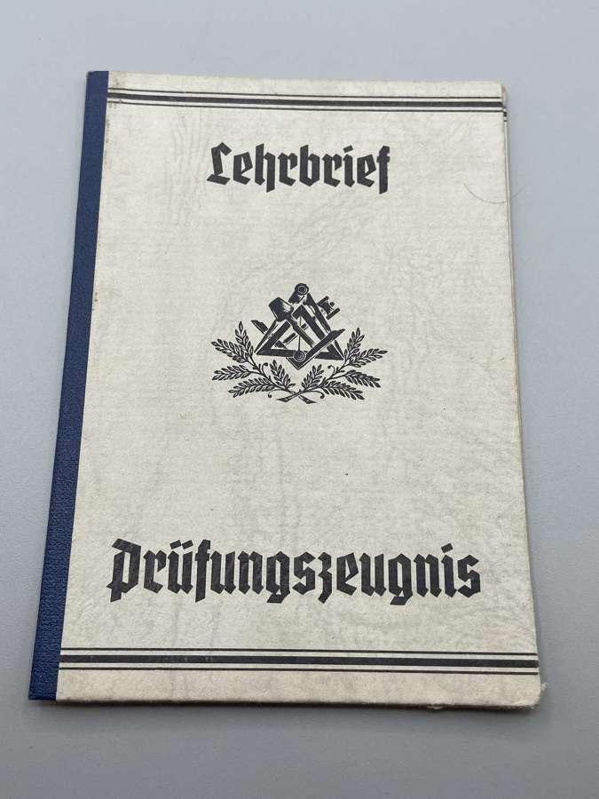 WW2 German Lehrbrief / Prüfungszeugnis Apprenticeship Certificate