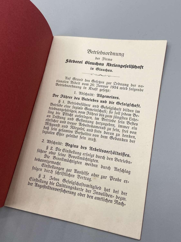 WW2 German 1934 Dated Workbook Regulations Farberei Glauchsu Aktienges