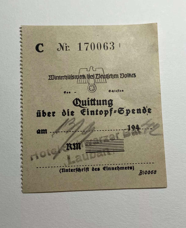 Rare WW2 German eintopfsonntag Stew Sunday 1933-45 Receipt 1942 Dated
