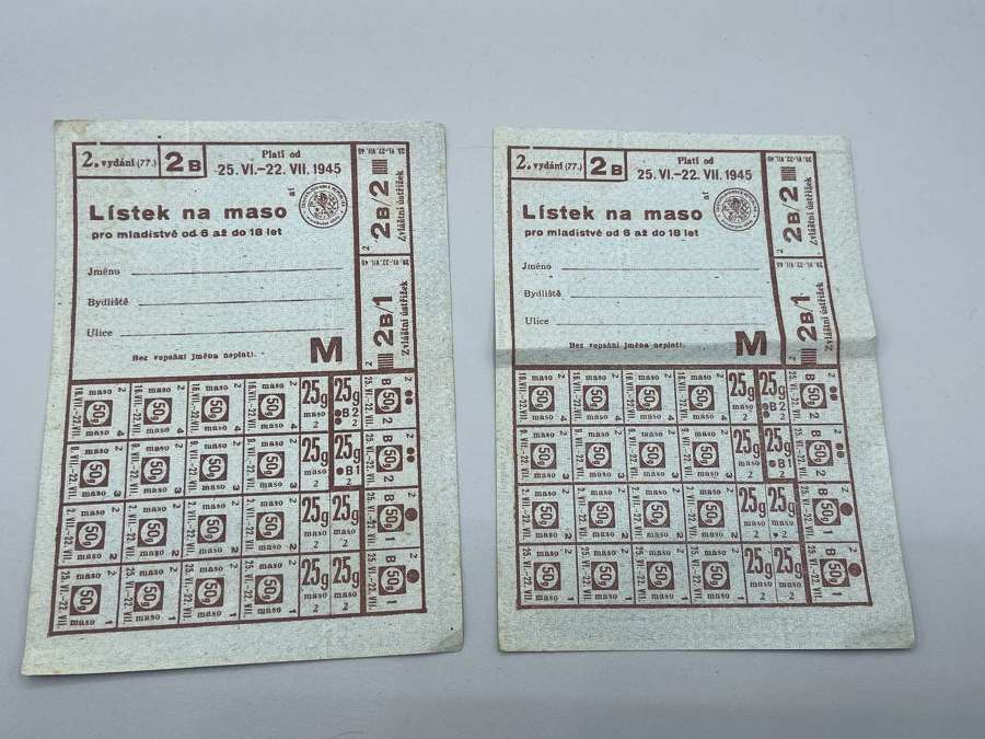 Pair Of Unissued WW2 German Polish Meat Rations For Children