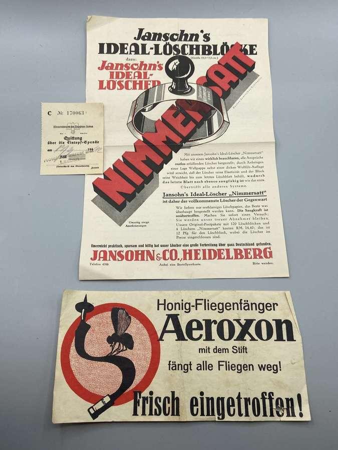 Pair Of WW2 German 1930s & 1940s Homefront Advertisements