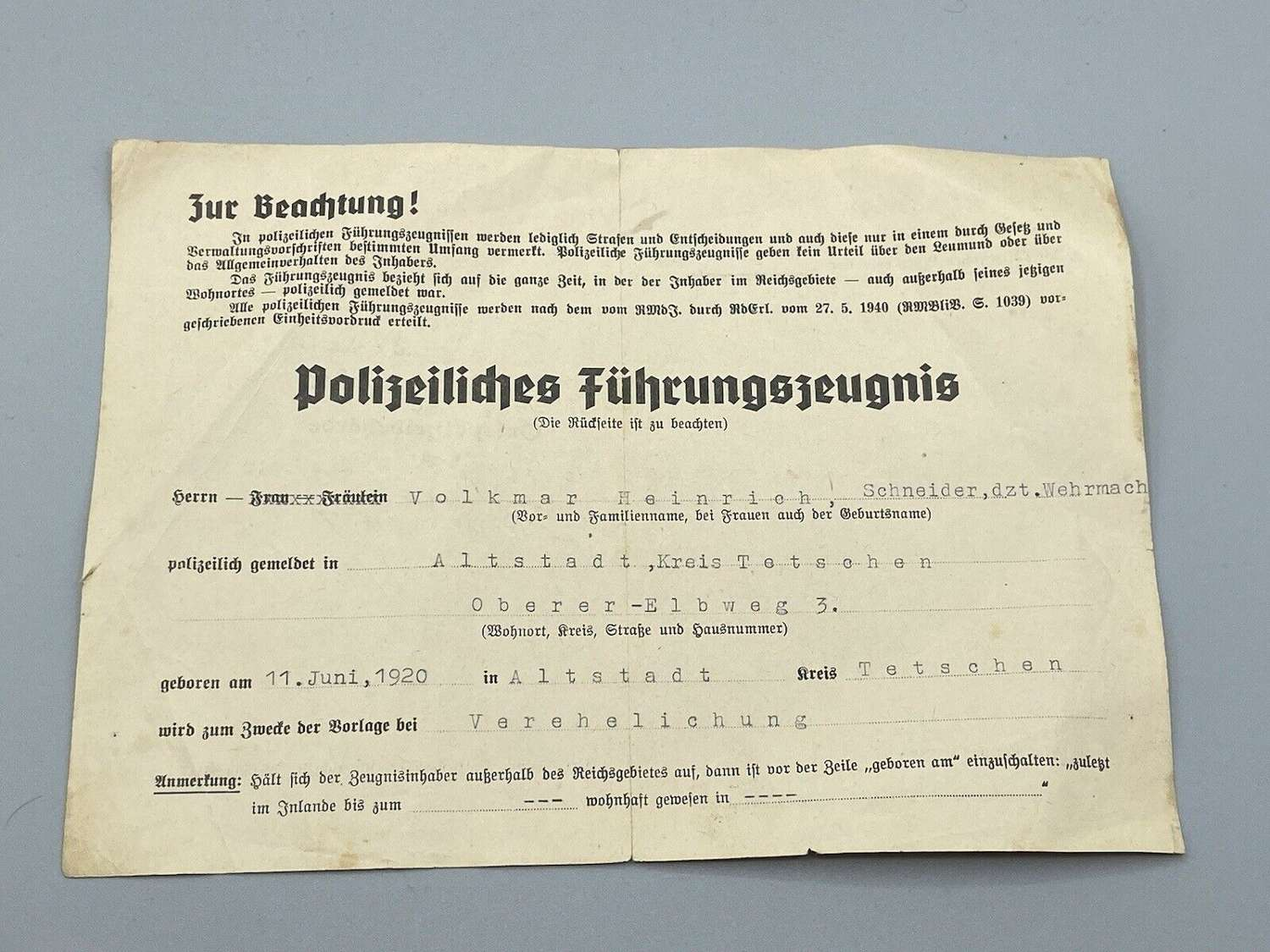 WW2 German Police Clearance Good Conduct Pass For Convicted Criminals