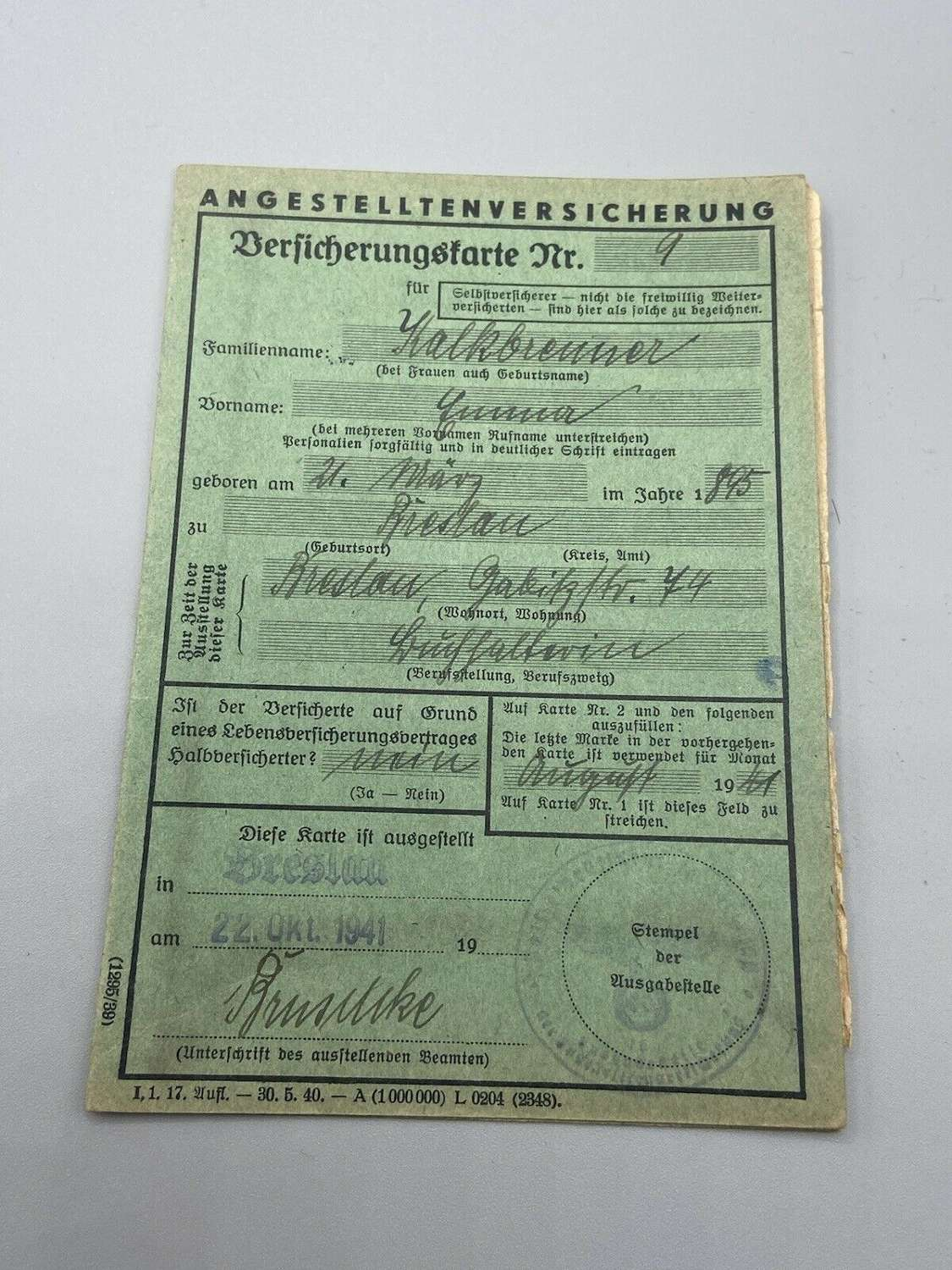 Ww2 1942 To 1943 German Breslau Employee Insurance Card With Stamps