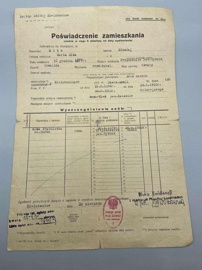 WW1 German Polish Occupation Compliance Certificate Of Residence