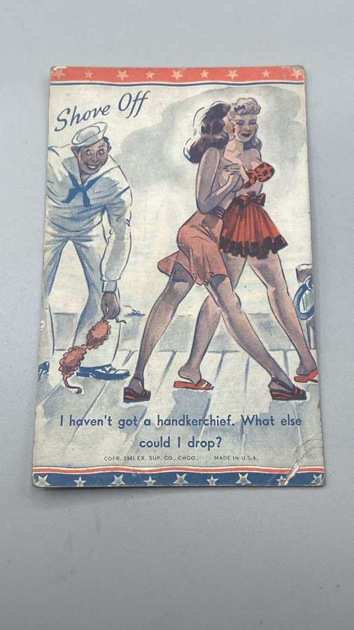 WW2 Satire US Navy Army Exhibit Supply Company 1941 Patriotic Postcard